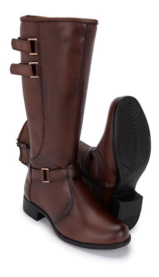 Bota Montaria Feminina Long Barrel Couro Over Cano Longo