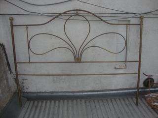 Antigua Cabecera De Cama 2 Plazas En Bronce Ideal Sommier