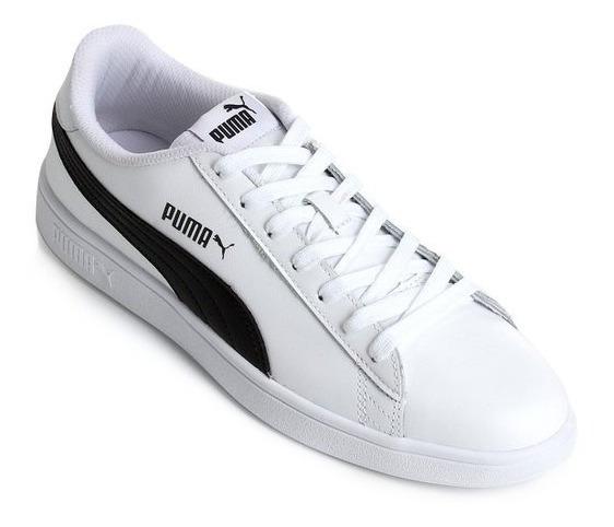 Tenis Puma Smash V2 Branco -preto Original+ Nota Fiscal