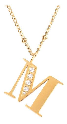 Imagen 1 de 10 de Collares Mujer Inicial Letras Baño Oro 18k Zirconias Luckyly