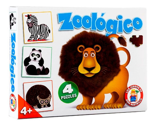 Imagen 1 de 4 de Zoologico Juego De Mesa Infantil X4 Puzzle 16/25 Pzas Rh Ful