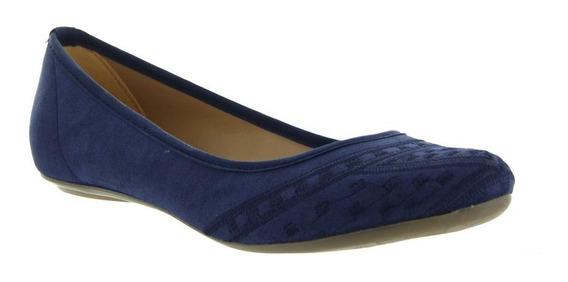 Zapato Para Mujer Balerina Capa De Ozono Ante Color Azul