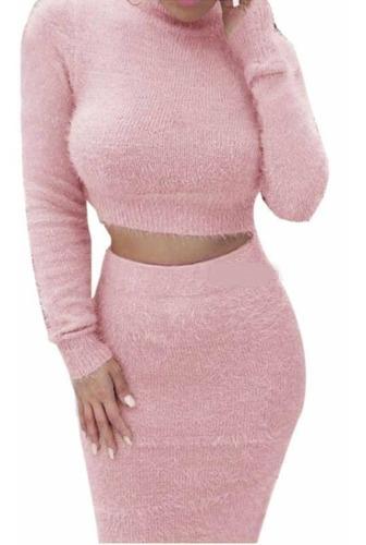 Conjunto Pink Fashion Falda Top Cuello Alto Manga Larga //