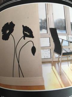 Vinilo Decorativo Extra Grande De Flores Negras