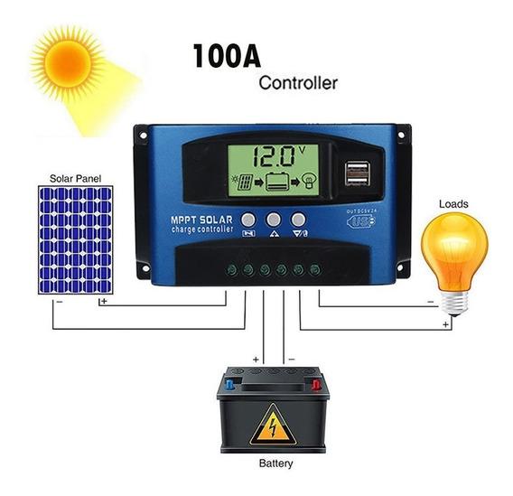 Controlador Carga Solar Mppt 60a 12v 24v Envio Rápido Kit/2