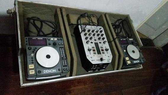 Kit Cdj Denon Dn 1000 + Mixer Behringer Qrs Vmx 200 Com Case