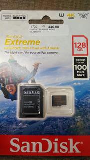 Cartão Micro 128gb Sd Sandisk 4k Uhd 100mbs