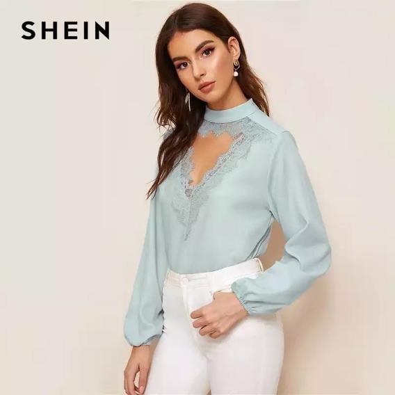 Blusa Chocket Camisa Shein Feminina Azul Claro Linda!!