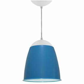 Lustre Utron Luminária Pendente De Teto Taça 20cm Azul Bebê