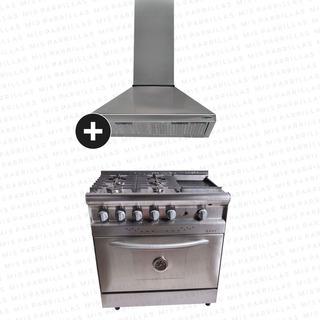 Combo Cocina Saho Jitaku 820 Grill Acero + Campana Eco Cucinela 90 - Ahora 12 Y Ahora 18