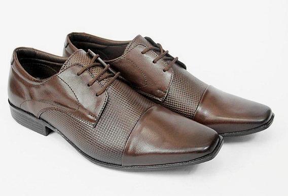Sapato Social Masculino Couro Marrom Italiano Luxo Oferta