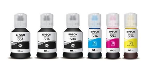 Kit 6 Refil Tintas Epson T504 L6161 L4150 L4160 L6191