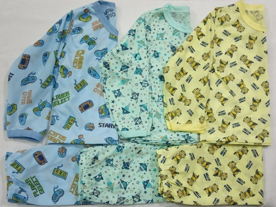 Pijama Infantil Estampado Menino - Kit 3 Conjuntos