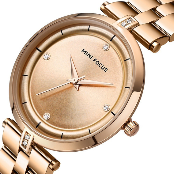 Reloj Para Dama Minifocus De Moda Original Casual Elegante Oro Rosa Mf0120l