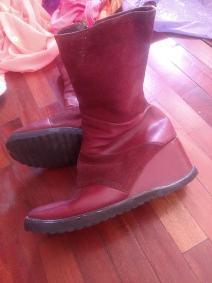 Botas T37 Rojas Taco Chino Simil Cueroy Gamuza Cierre Mujer