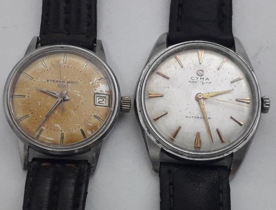 2 Relógios Suiços Swiss Eterna Matic Cyma Restauração Peças