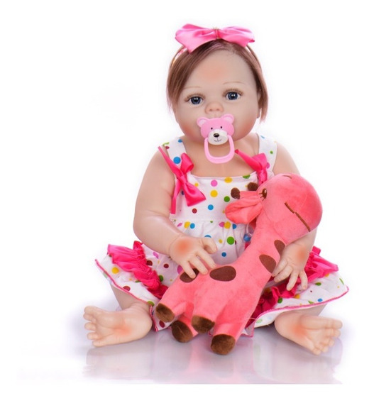 Bebê Reborn Boneca Grande Silicone+girafa-cabelo Implantado