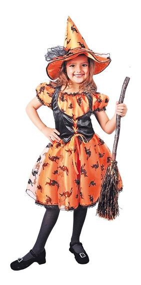 Disfraz De Bruja Naranja Niña Carnavalito -d399