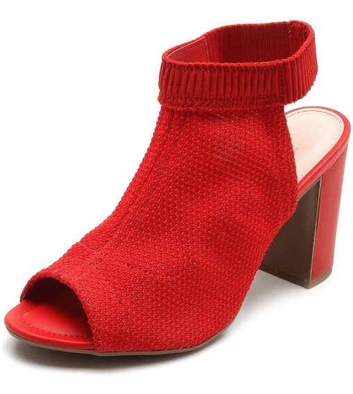 Sandália Feminina Salto Alto Dakota Z3662 - Vermelha Malha