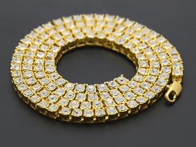 Colar Cordao Cor Ouro Pedras 1 Row Hip Hop Ice Chain Out