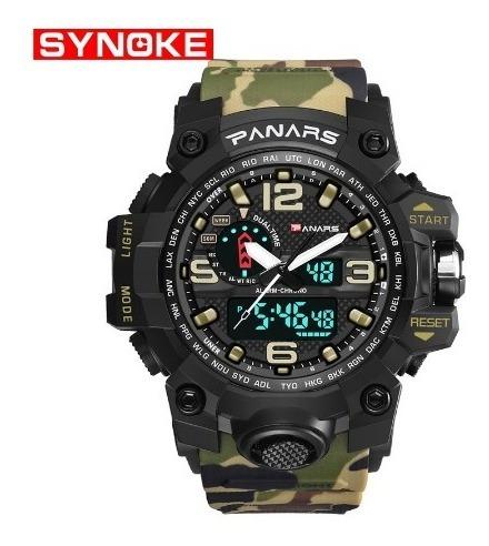 Relógio S-shock Panars 8202 Camuflado Masculino Verde Milita