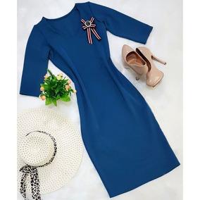 Vestido Justo Midi Roupas Femininas Moda Crista