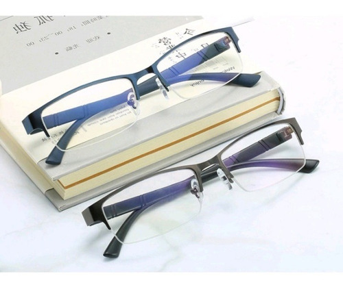 Imagem 1 de 7 de Óculos Masculino Miopia Semi Aro Retangular Anti Stress