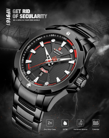Relógio Naviforce Nf9161 De Pulso Luxo Militar Esporte