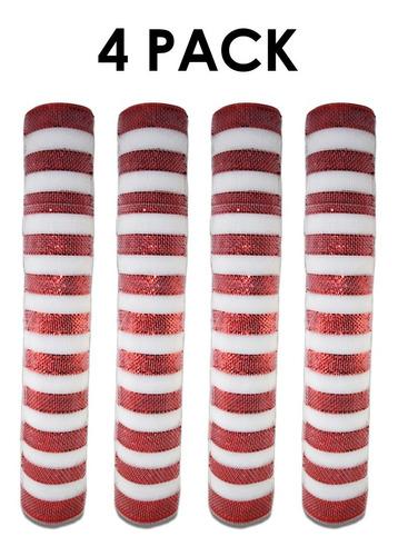 Imagen 1 de 3 de Listón Malla Decorativa 4 Piezas,decoración Navideña,roja,hb