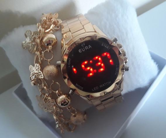Relógio Led Digital Feminino Dourado+pulseira Confira