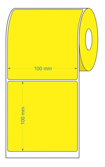 10 Rolos Etiqueta Adesiva Couche 100x100 | 10x10 Cm Amarela