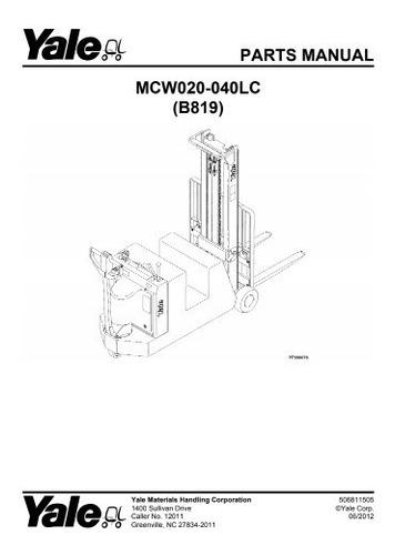 Manual Pecas Empilhadeira Yale Mcw020 040lc Serie B819 210pg