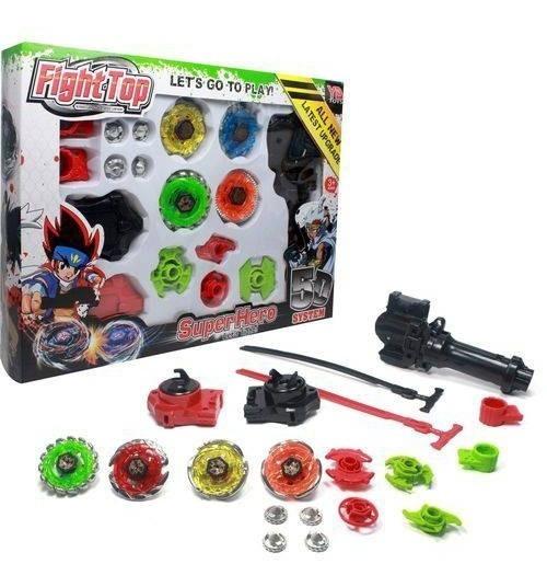 Kit 4 Beyblade Tipo Fight Top Metal Lançadores