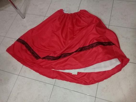 Pollera Rojo Puntilla Negro Con Enagua