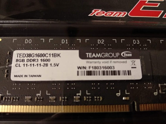 Memoria Pc Dimm 8gb Ddr3 1600mhz Team Gamer Envio Gratis