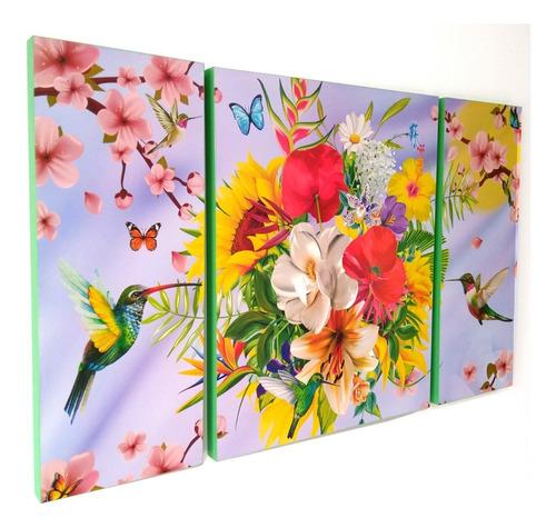 Imagen 1 de 4 de Cuadro Decorativo Colibríes Aves Tríptico 80x50cm