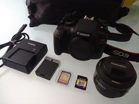 Canon T6 + Lente Yongnuo 50mm F1.8 + Acessorios