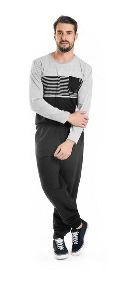 Camiseta Masculina Manga Longa Bolso Rovitex Cinza