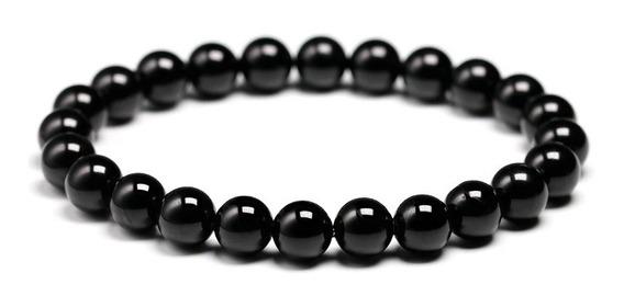 Pulseira Obsidiana Negra Pedra Natural 8mm Proteção