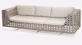 Sofa 3 Lugares Fibra Sintetica Aluminio + 4 Almofadas Dec.