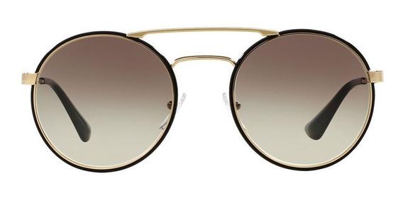 Prada Classic Pr51ss 1ab0a7 54 - Preto-dourado/cinza Gradien