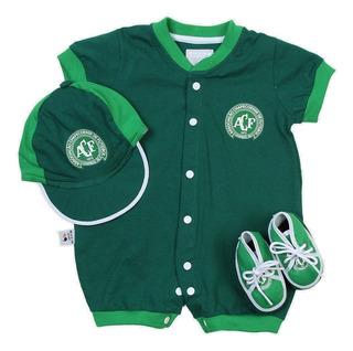 Camisa Chapecoense Infantil Baby Macacao Bone Tenis Bebe