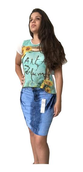 Roupa Barata Pacote 6 Saia Jeans Secretaria Moda Evangelica