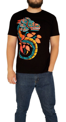 Imagen 1 de 6 de Playera Larva Para Hombre Dios Quetzalcóatl Fosforescente