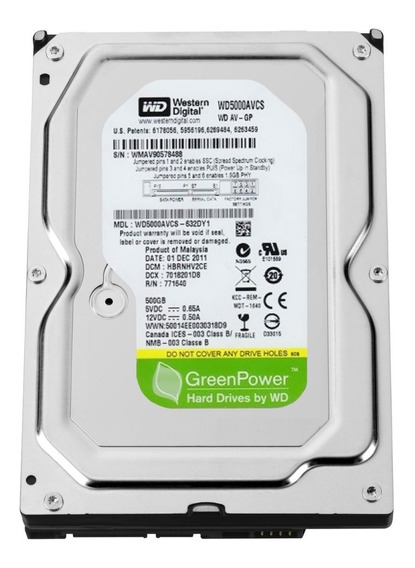 Hd Western Digital 500gb Sata 3gbs Pc Dvr 7200rpm Sata Gtia