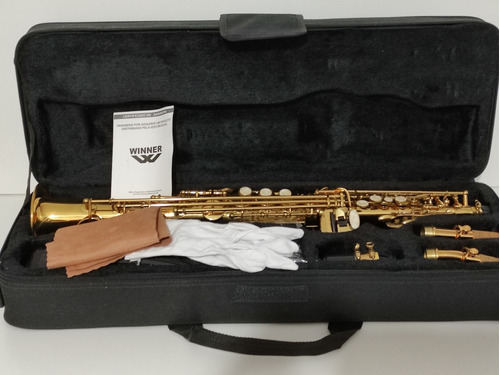 Saxofone Sib Winner Reto Sib Soprano  Dourado Novíssimo