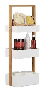 Mueble Organizador Para Baño De Bambu 3 Cajones Premium