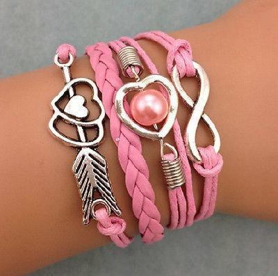 Pulseira Bracelete Coração Cupido Pérola Infinito - 56