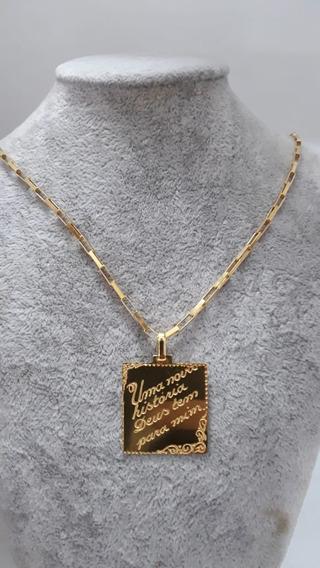 Cordão De Prata Com Banho De Ouro 24k, Pingente Placa.