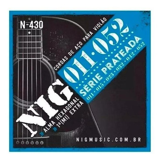 Encordoamento Violão Cordas Aço 011 Nig N430 1 (mi) Extra + 01 Palheta Brinde